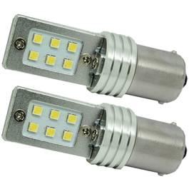 Set Becuri LED P21W cu 12 SMD Samsung, Lumina Alba