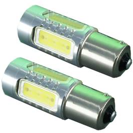 Set Becuri LED P21W cu 6 SMD Epistar si Cree, Lumina Rosie (1 Faza)