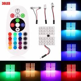 Set Placute LED T10 SOFIT 36 SMD Lumina Ambientala Auto, Multicolora RGB cu Telecomanda si Intensitate Reglabila