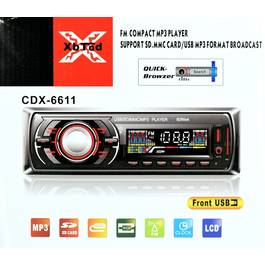 Radio MP3 Player Auto 1 DIN cu USB, Card SD/MMC, AUX si Telecomanda, CDX-6611