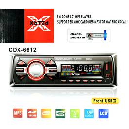 Radio MP3 Player Auto 1 DIN cu USB, Card SD/MMC, AUX si Telecomanda, CDX-6612