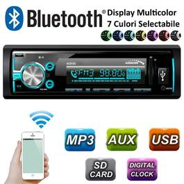 Radio MP3 Player Auto 1DIN cu Bluetooth / WMA / USB / RDS / SD / ISO Cube / Multicolor Audiocore