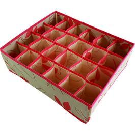 Organizator pliabil pentru sertar cu 24 de separeuri pentru sosete, cravate, curele, lenjerie de corp, marime 35x30x10cm