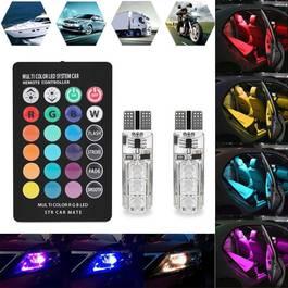Set Becuri LED T10 Auto Pozitie 6 SMD, Multicolor RGB cu Telecomanda si Intensitate Reglabila
