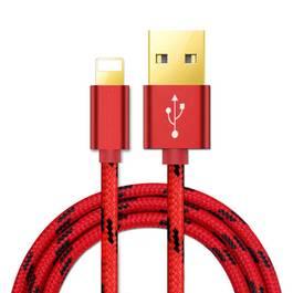 Cablu de date / incarcator USB invelit in material textil pentru Apple iPhone, lungime 2m, Culoare Rosu