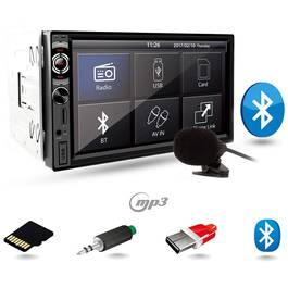 MP3 Player Auto 2DIN cu Microfon Extern, Bluetooth, Radio FM, Touchscreen Display 7 inch, Telecomanda, USB, MicroSD, AUX, Putere 4x45W, Vordon
