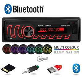 Radio MP3 Player Auto 1DIN cu Bluetooth, Iluminat LED Multicolor, Microfon Extern Inclus, Putere 4x45W, FM/USB/LED/Card MicroSD/AUX