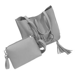 Set elegant geanta dama + plic din piele, culoare gri
