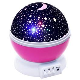 Lampa de Veghe Rotativa pentru Copii cu Proiectie de Stele si Luna pe Tavan si Pereti