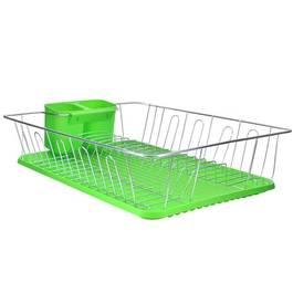 Suport uscator pentru vase cromat cu tavita colectare, culoare Verde