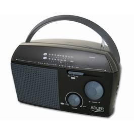 Radio Portabil Adler Clasic AM/FM cu Antena Telescopica si Maner, Alimentare la Retea sau pe Baterii