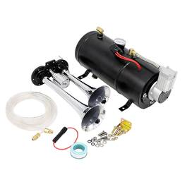 Set claxon cu 2 pipe train horn + compresor 3L, 12V, COD: LD10 ManiaCars