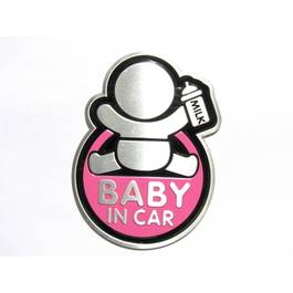 Abtibild TS-126 BABY IN CAR fond roz ManiaCars