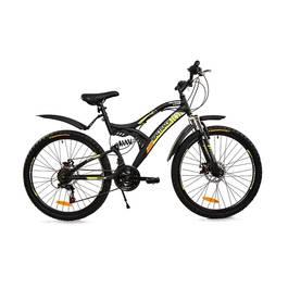 Bicicleta MTB MalTrack Target Yellow cu 18 Viteze, Amortizor, Roti 26 Inch, Mountain Bike