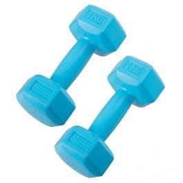 Set 2 Gantere fitness din cauciuc, 2x1 kg, culoare albastru