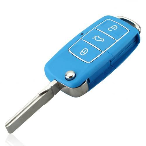 Carcasa Cheie Briceag Premium 3 Butoane Volkswagen VW, Albastra cu Insertii Cromate