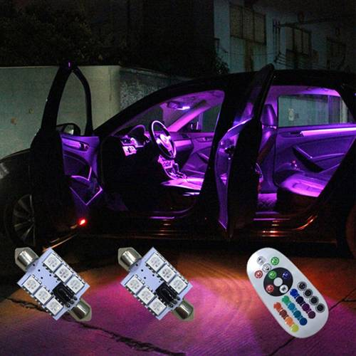Set Becuri LED SOFIT 6 SMD 36MM Lumina Ambientala Auto, Multicolor RGB cu Telecomanda si Intensitate Reglabila
