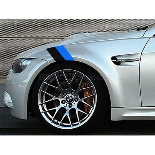Sticker ornament auto BMW FLAG - BLACK/BLUE (20cm x 12cm)