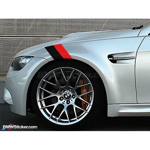 Sticker ornament auto BMW FLAG - BLACK/RED (20cm x 12cm)