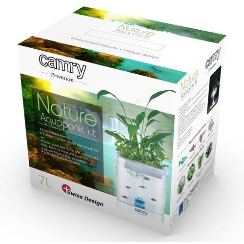 Set Natura Decorativ Acvariu Pesti cu Iluminare LED, Aerator, Filtru si Suport Flori, Camry