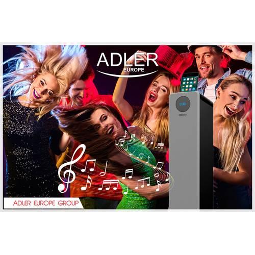 Sistem Audio Stereo Boxa Bluetooth Turn Adler cu Telecomanda, USB, SD, AUX, LED, Putere 40W, Argintiu