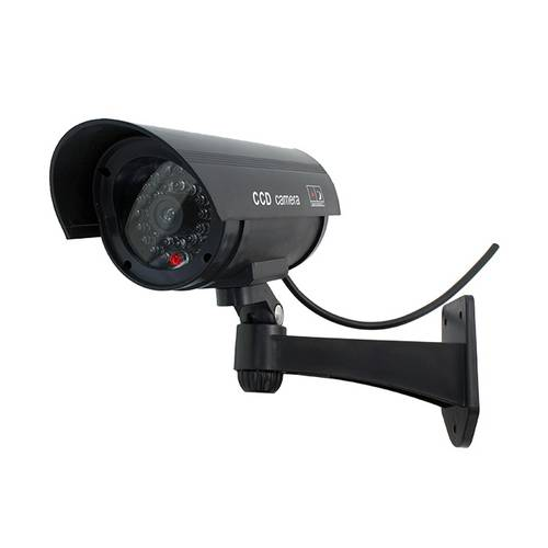 Camera falsa de supraveghere cu LED rosu intermitent Neagra