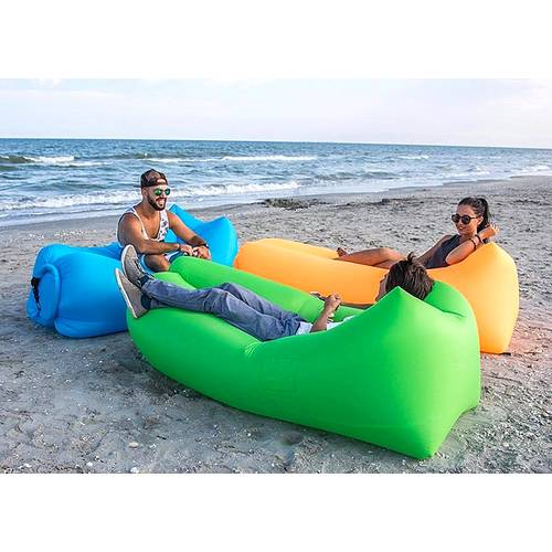 Saltea Gonflabila tip Sezlong Lazy Bag pentru Plaja sau Piscina, Umflare Rapida fara Pompa + Rucsac Depozitare