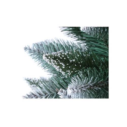 Brad de Craciun Artificial Verde cu Varfuri Albe, Conuri si Tulpina cu Aspect Natural 220 cm si Suport Cadou