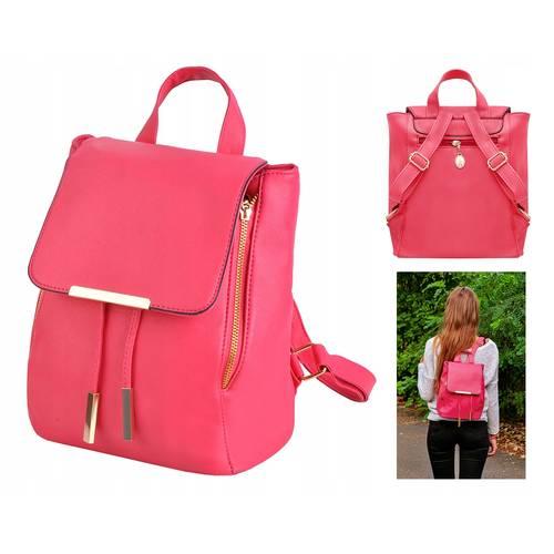 Rucsac Ghiozdan Dama Elegant din Piele Eco pentru Femei, Culoare Roz
