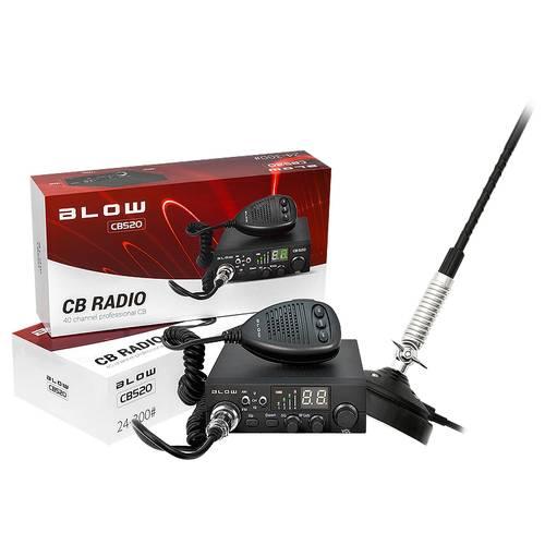 Kit Statie Radio CB Auto Blow CB520 cu Antena Magnetica 66cm Inclusa, 40 Canale, 150W